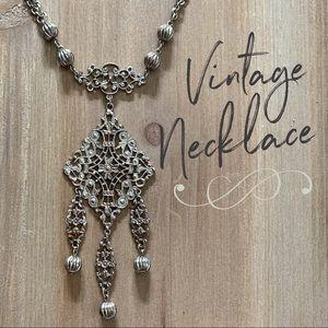 Vintage silver tone filigree necklace boho